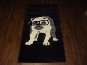 Modern Approx 5x3ft 80cmx150cm Woven Top Quality Bulldogs Rugs/Mats Black/Grey